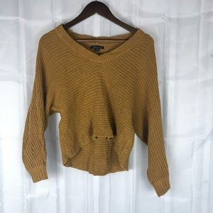 American Eagle mustard cropped knit sweater